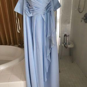 David's Bridal chiffon ice blue dress